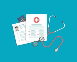 Medical research report or contract vector,concept of medicine check list