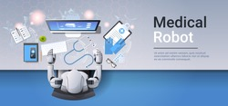 medical robot at workplace robotic doctor examining brain on computer monitor diagnostic healthcare artificial intelligence concept top angle view desktop copy space horizontal