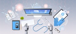medical robot hands at workplace robotic doctor examining brain on computer monitor diagnostic healthcare artificial intelligence concept top angle view desktop office stuff horizontal