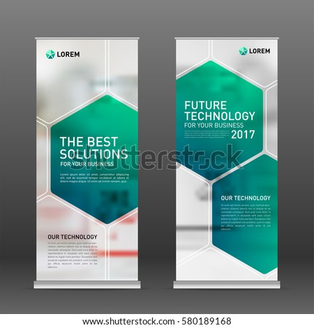 Medical roll up banner design layout. Vertical banner design template.