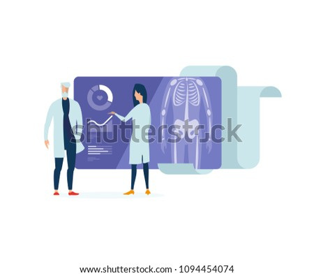 Medical school. Council of physicians. Two doctors discuss the timeline of the patient's illness. Illustration of health. X-ray scan. Health facility. Hospital.