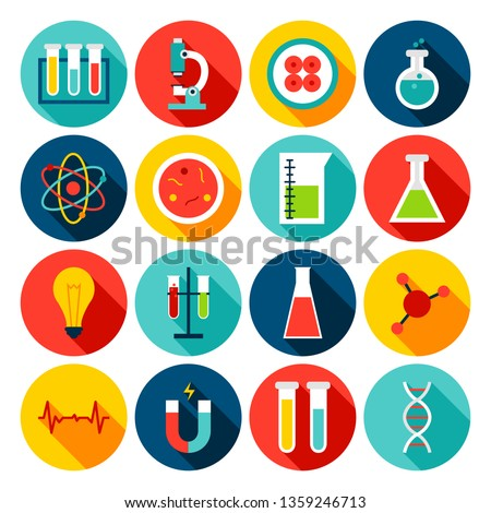 Medical Science Flat Icons. Vector Illustration. Set of Circle Hospital Items with Long Shadow.