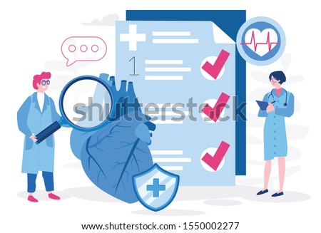 Medical science, heart disease, coronary artery disease, risk with hypertension concept Vector illustration.for web banner, infographics, mobile website. Heart tests or Cardiology diagnostics
