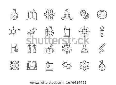 Medical science icons. Simple line chemistry virus lab set of medical analysis experiment, laboratory test flask, chemical formula and reaction tube. Vector illustration editable stroke