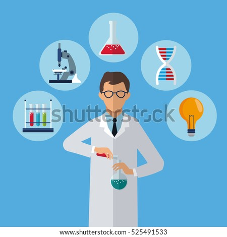 medical scientist test tube laboratory icons