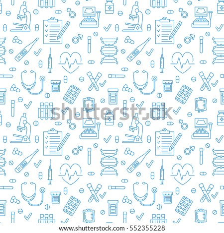 Medical seamless pattern , clinic vector illustration. Hospital thin line icons - thermometer, check up, diagnostic, microscope, stethoscope. Cute repeated texture business presentation