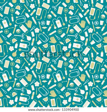 Medical seamless pattern. Vector Illustration, eps 10, contains transparencies.