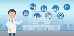 Medical service concept with doctor and patients flat design vector illustration