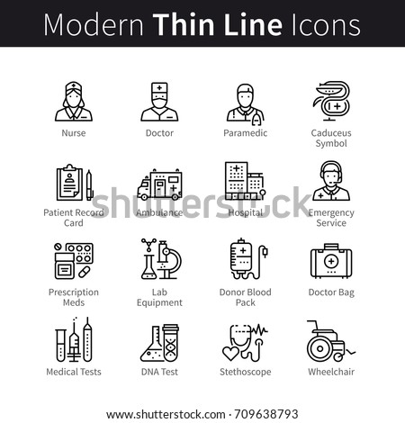 Medical service, healthcare professionals, diagnostic equipment. Hospital, nurse, doctor, emergency medicine, lab test, disabled patient support. Modern thin line art icons. Linear style illustrations