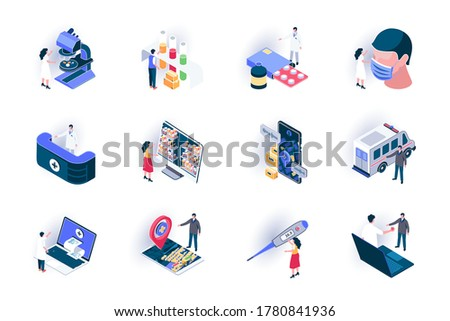 Medical service isometric icons set. Diagnosis and treatment in clinic flat vector illustration. Online doctor consultation, life insurance and healthcare 3d isometry pictograms with people characters Stockfoto ©