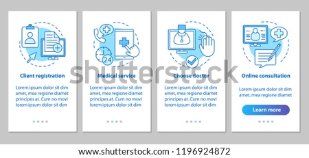 Medical service onboarding mobile app page screen with linear concepts. Doctor online consultations steps graphic instructions. Medical appointment. UX, UI, GUI vector template with illustrations