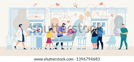 Medical Service with Doctors and Patient in Clinic Banner Template Vector Healthcare Medic Fast Diagnosis Consultation Flat Illustration Family with Ill Mother Hospital Ward Specialist Ready Consult