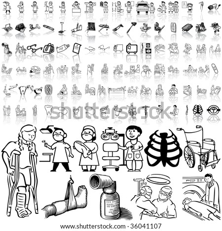 Medical set of black sketch. Part 10. Isolated groups and layers.