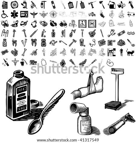 medical set of black sketch