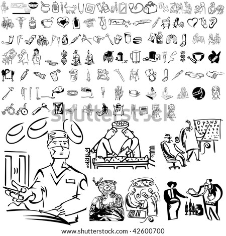 Medical set of black sketch. Part 105-11. Isolated groups and layers.
