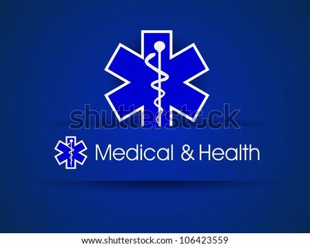 Medical sign,  caduceus on blue. EPS 10.
