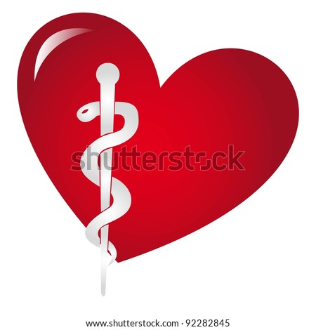 medical sign over red heart isolated over white background vector