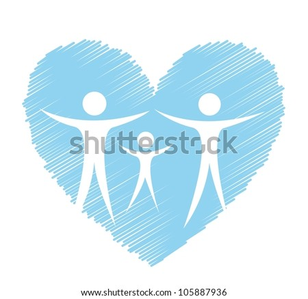 medical sign with blue heart and people. vector illustration