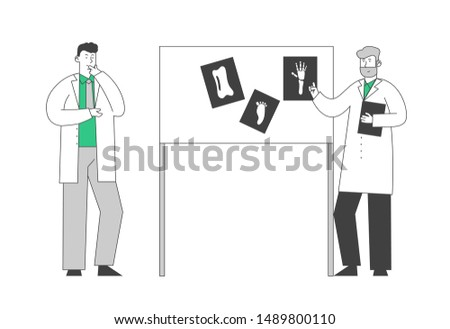 Medical Specialists Concilium. Professional Doctors Consultation Meeting in Hospital Room Session Stand at Laboratory Equipment Board with Images of Xray Cartoon Flat Vector Illustration Line Art