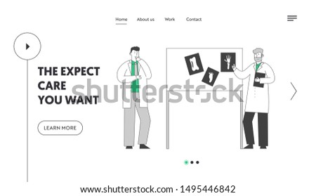 Medical Specialists Concilium Website Landing Page. Doctors Consultation Meeting in Hospital Stand at Laboratory Equipment Board with Images of Xray Web Page Banner. Cartoon Flat Vector Illustration