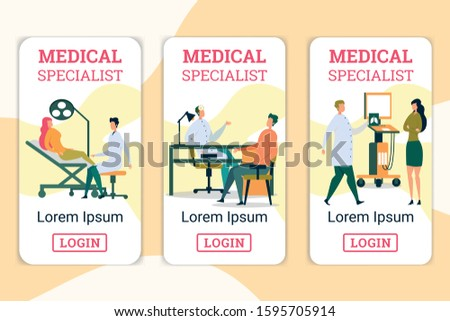 Medical Specialists Flat Cartoon Vector Illustration. Woman Sitting on Chair, Having Dental Checkup. Patient Visiting Otorhinolaringologist, Having Health Problems. Woman Coming to X-ray.