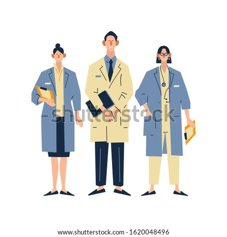 Medical specialists standing together, team of doctors concept. Flat cartoon vector illustration on white background.