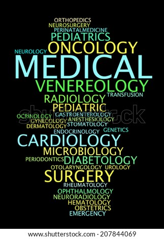 Medical specialization in the form of a cloud words.