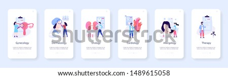 Medical specialties mobile banner set. Cardiology and gynecology, dermatology and therapy. Disease treatment, healthcare. Vector illustration in flat style