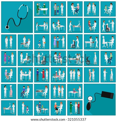 Medical Staff And Patients Different Situations - Isolated On Blue Background - Vector Illustration, Graphic Design Editable For Your Design