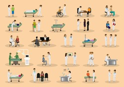 Medical Staff And Patients Different Situations Set - Isolated On Background - Vector Illustration, Graphic Design Editable For Your Design