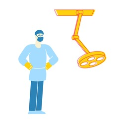 Medical Staff Anesthetist or Surgeon Character Wearing Robe, Hat and Mask Stand with Arms Akimbo Prepare to Make Operation in Surgery Room with Lighting Equipment in Clinic. Linear Vector Illustration