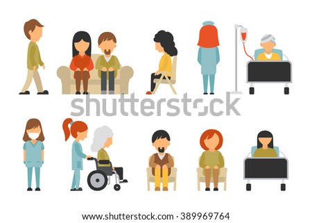 Stock Vector Medical Staff Flat Isolated On White Background Doctor Nurse Care Collection People