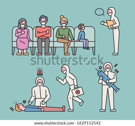 Medical staff in protective uniforms and patients waiting to see you. flat design style minimal vector illustration.