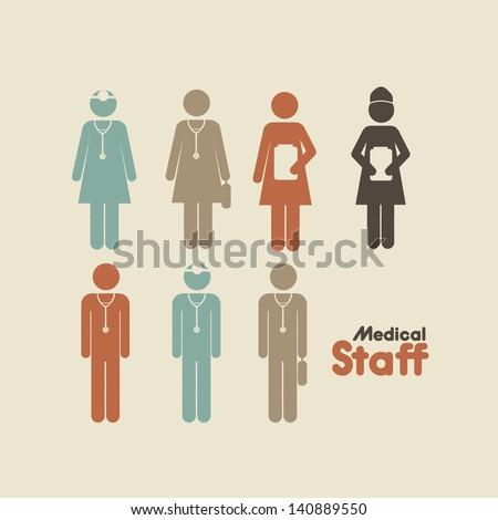 medical staff over cream background vector illustration