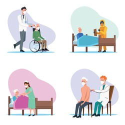 medical staff protecting elderly characters vector illustration design