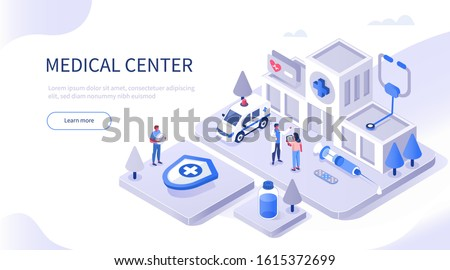 Medical Staff Standing near Hospital Building and Ambulance Car. Syringe, Stethoscope, Medicament Bottles around. Doctor and Nurse Talking. Medical Clinic Concept. Flat Isometric Vector Illustration.