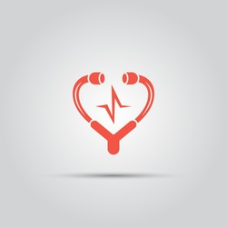 medical stethoscope in form of heart isolated vector colored icon