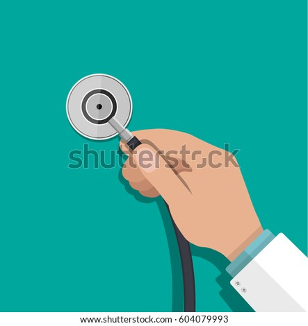 Medical stethoscope or phonendoscope in hand of doctor. Medical equipment. Healthcare. Vector illustration in flat style