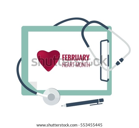 Medical stethoscope with white paper in clipboard. Medical concept. February National Heart Month. Vector flat illustration