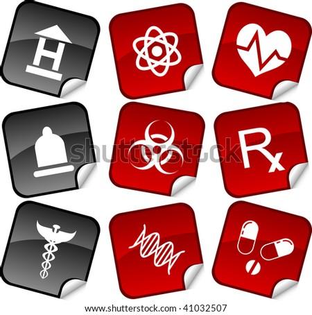 Medical  sticker set. Vector illustration.