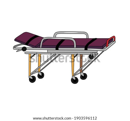 Medical stretcher for ambulance or hospital, color vector illustration, isolated on white background. A means for transporting patients. Сток-фото ©