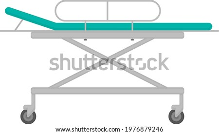 medical stretcher in blue color for emergency care of patients and for moving them around the hospital. Hospital stretcher. Vector illustration isolated on white background. Сток-фото ©