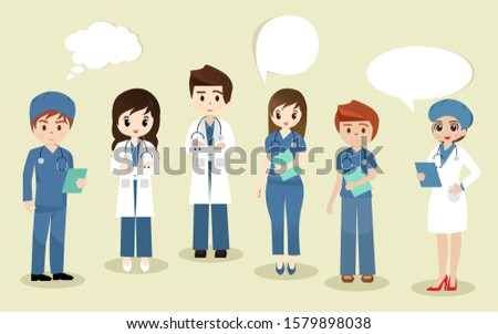 Medical students listening Doctor with clipboard in doctor giving advice consultant. Team of medical workers, Simple character with flat design. Group of young medical students.