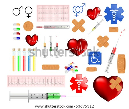 medical supplies and accessories vector illustration