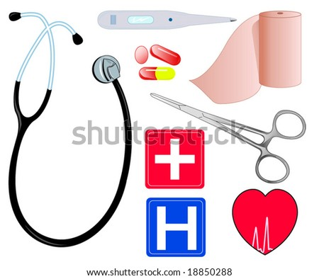 Medical supplies and symbols
