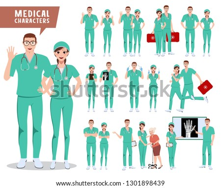Medical surgeon vector character set. Doctor, nurse and hospital workers with various poses holding medical tools for presentation. Vector illustration.