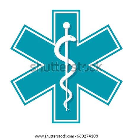 Medical symbol Star of Life, vector icon in flat style