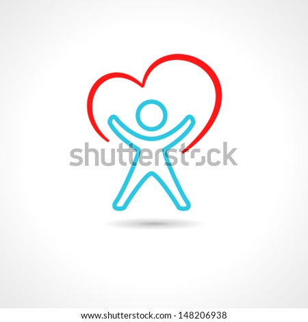 Medical symbol with heart shape and stylized human drawing.