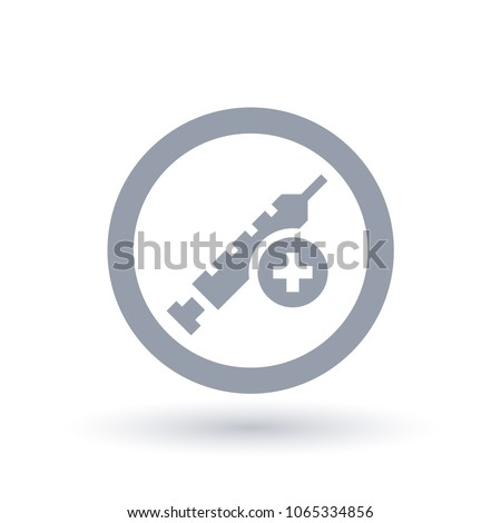Medical syringe with cross icon in circle outline. Vaccine injection symbol. Clinical vaccination needle equipment sign. Vector illustration.