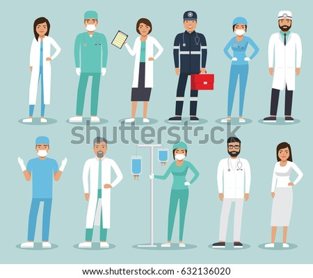 Medical team concept in flat design people character. Set of medical staff. Group of doctors and nurses and medical staff.
